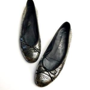 Authentic CHANEL Bronze Snakeskin Ballet Flats